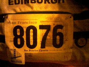 My San Francisco Marathon number.  Pre-race prep complete.  [Posted  slightly later due to connectivity issues.  :-( ]