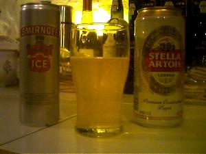 The traditional breakfast of champions - a Russian Shandy (Stella & Smirnoff Ice).