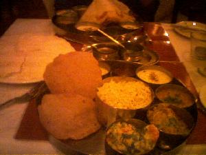 Last night after my first visit to the gym in a looong time, I was mighty  hungry, so The Girl and I went to the Kalpna (vegetarian Indian restaurant) for dinner.  We both had Thaali\'s, which were excellent.  You just can\'t beat delicious food!