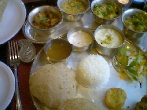 Delicious thali at the Kalpna. Just not big enough!