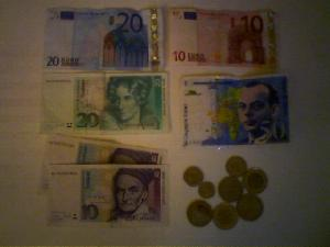 Euros, French Francs & Deutsche Marks.