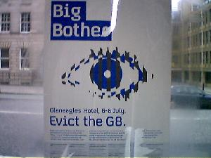 The first anti-G8 poster I\'ve seen in town.
