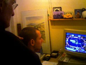 After watching Poker on TV, my dad and brother decided to try their luck online. They\'re winning so far!