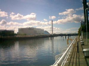 Sunday was a lovely sunny day in Glasgow. This is looking down the Clyde, towards the Science Centre, on the site of the Garden Festival.