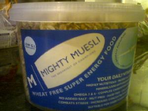 I picked up a tub of Mighty Muesli at Herbie (deli) the other day, after reading a short article about it in the shop. I was wary about quite how worthy it appeared, and how tasteless it might be, but after two large bowls I can confirm it is truly excellent, despite the hefty pricetag (the tub was £5.25). More information on www.mightymuesli.com .