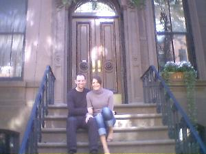Yesterday Hazel and I went on a Sex and the City bus tour.  It was a very cool way  to not only see so many of the locations, but also to see parts of New York we wouldn\'t  have had time to otherwise.  We\'re sitting on Carrie\'s front stoop here.  :-D