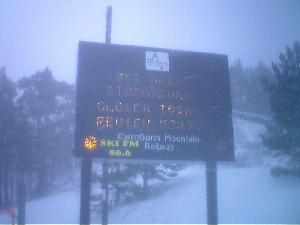 That sign says: despite great planning & execution by Hazel and Martin, due to storm conditions Cairngorm is CLOSED TODAY!