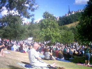 Soaking up the jazz, sunshine and a few ciders in Princes Street Gardens.  An excellent way to spend a Sunday afternoon.